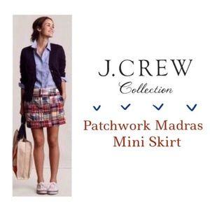 J. CREW Patchwork Madras Mini Skirt